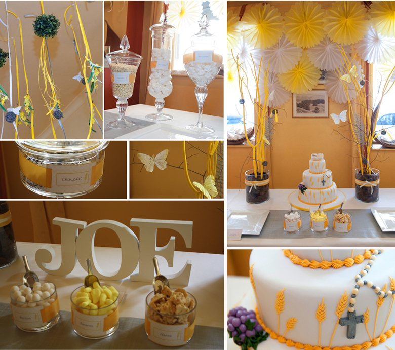 event d coration de communion en jaune blanc et argent tomate cerise. Black Bedroom Furniture Sets. Home Design Ideas