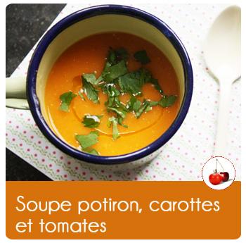 Soupe potiron, carottes et tomates
