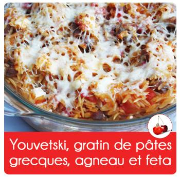 Youvetsi, gratin de pâtes grecques, agneau et feta