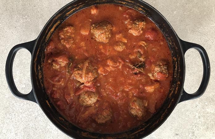 Les boulettes à la sauce tomate