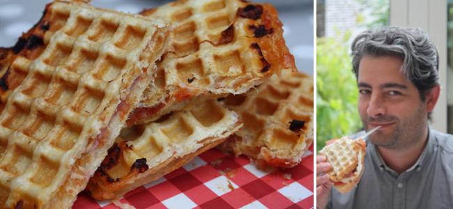 Un grand classique, la pizza jambon-fromage revisitée en gaufre croquante