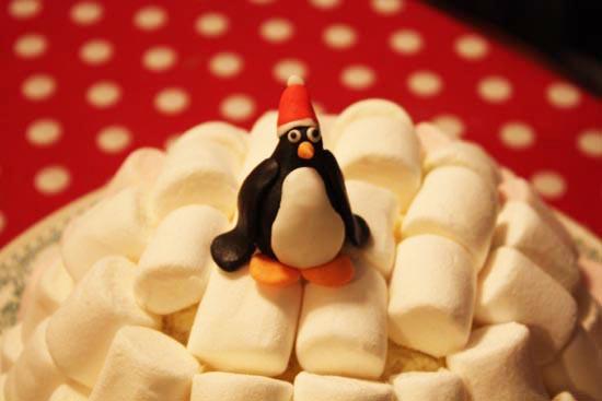 Igloo Cake - pate à sucre pinguoin