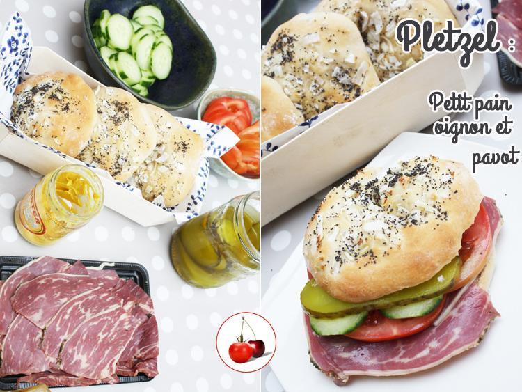 Pletzel : Petit pain recouvert d'oignon et de pavot