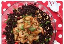 Salade de riz noir et scampis | Une recette un peu festive