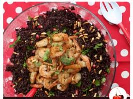 Salade de riz noir et scampis   Une recette un peu festive