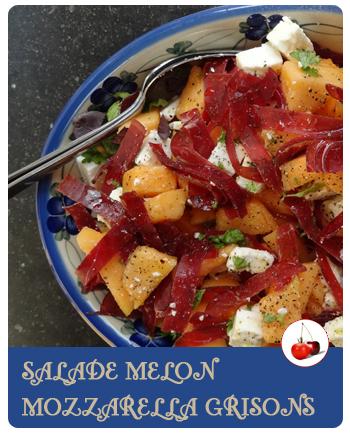 Salade de melon mozzarella et viande de grison