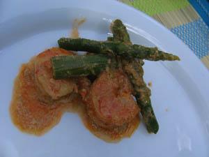 scampis au curry et asperges vertes