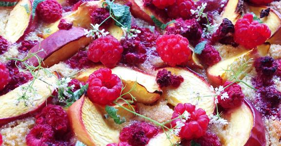 Tarte nectarines & framboises