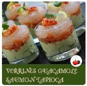 verrine de guacamole saumon et tapioca