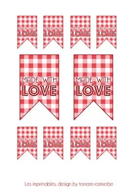 Des étiquettes pour cadeaux gourmands : Made with LOVE