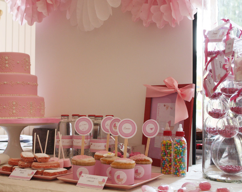 buffet sucr sweet table baby shower oh a girl. Black Bedroom Furniture Sets. Home Design Ideas