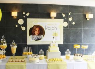 Décoration de buffet | Communion Ralph dans les tons jaunes