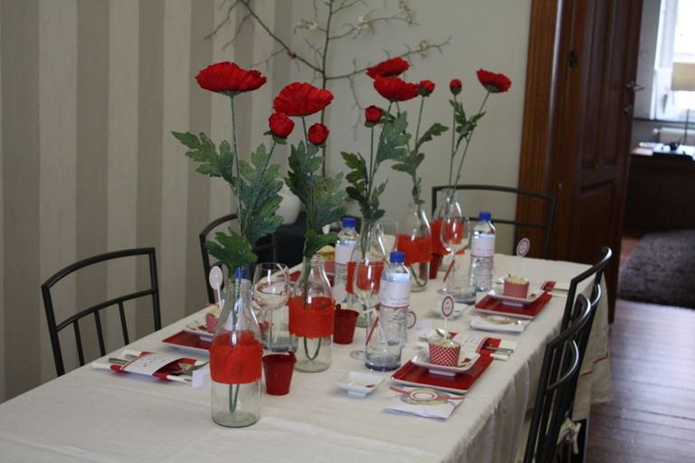 D coration de table coquelicot fleur rouge ph m re - Idee de decoration de table pour noel ...