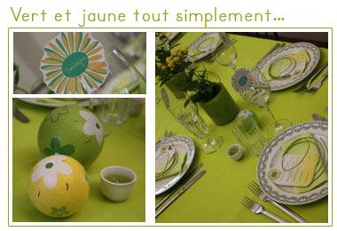 Décoration de table | Vert et jaune tout simplement