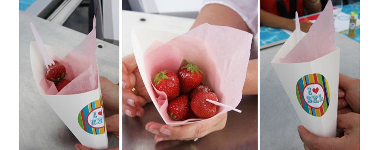 Dinner in the sky - cornet de fraises