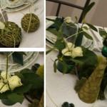Décoration de table en vert et blanc & Pliage de serviette