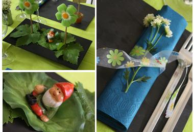 Décoration de table fleurs et ardoises