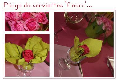 Pliage de serviette fleur for Pliage serviette rose