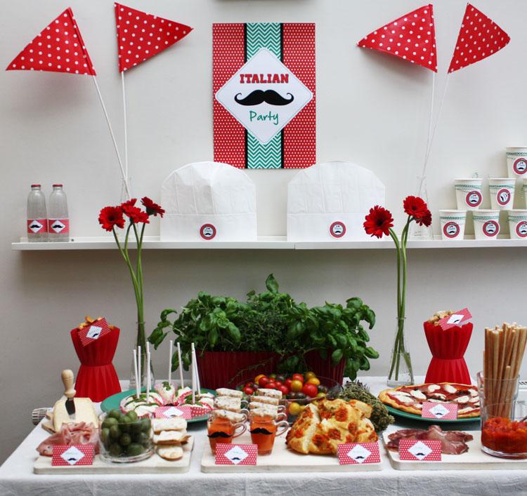 moustache italian party d coration de buffet sal. Black Bedroom Furniture Sets. Home Design Ideas