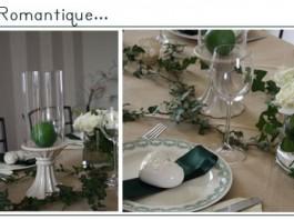 Décoration de table   Romantique, porcelaine, lierre et vert