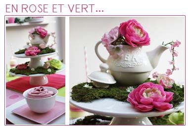 Décoration de table | Comme un tea time en Rose et Vert