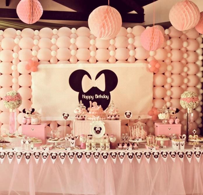 Minnie Mousse Party - Décoration de buffet d'anniversaire tout en rose
