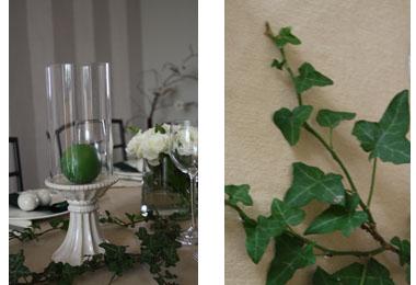 Décoration de table | Romantique, porcelaine, lierre et vert