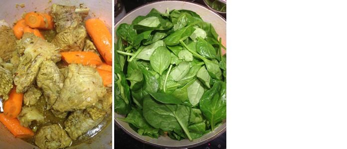 Curry de veau aux épinards