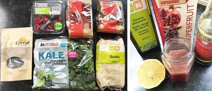 Ma super salade : quinoa, kale, grenade, goji,...