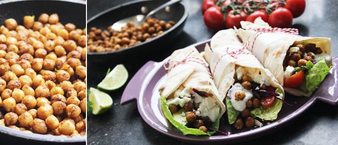 Wraps de pois chiches, une recette végétarienne épicée