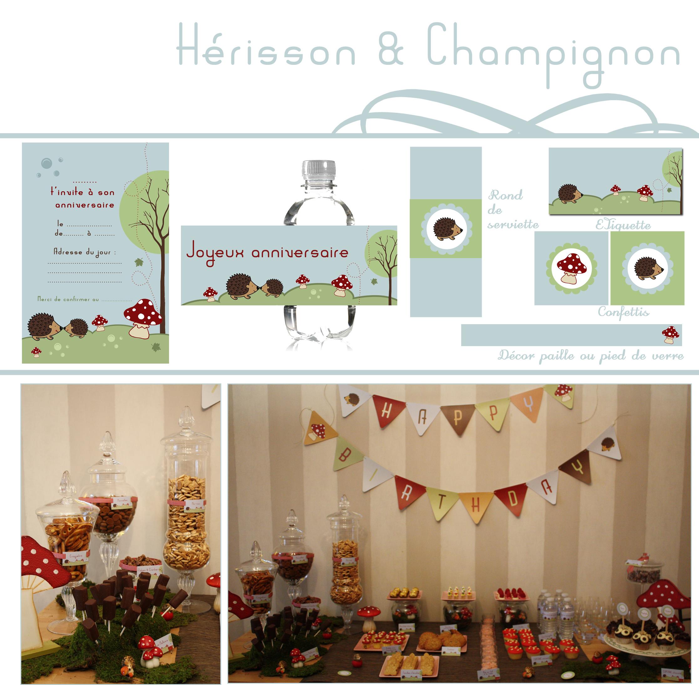 Décoration anniversaire Hérissons & Champignons