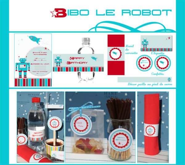 Anniversaire Robot | Imprimable