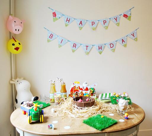 Les animaux de la ferme d coration d 39 anniversaire imprimable tomate - Decoration d anniversaire ...