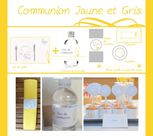 Communion jaune et gris | Imprimable