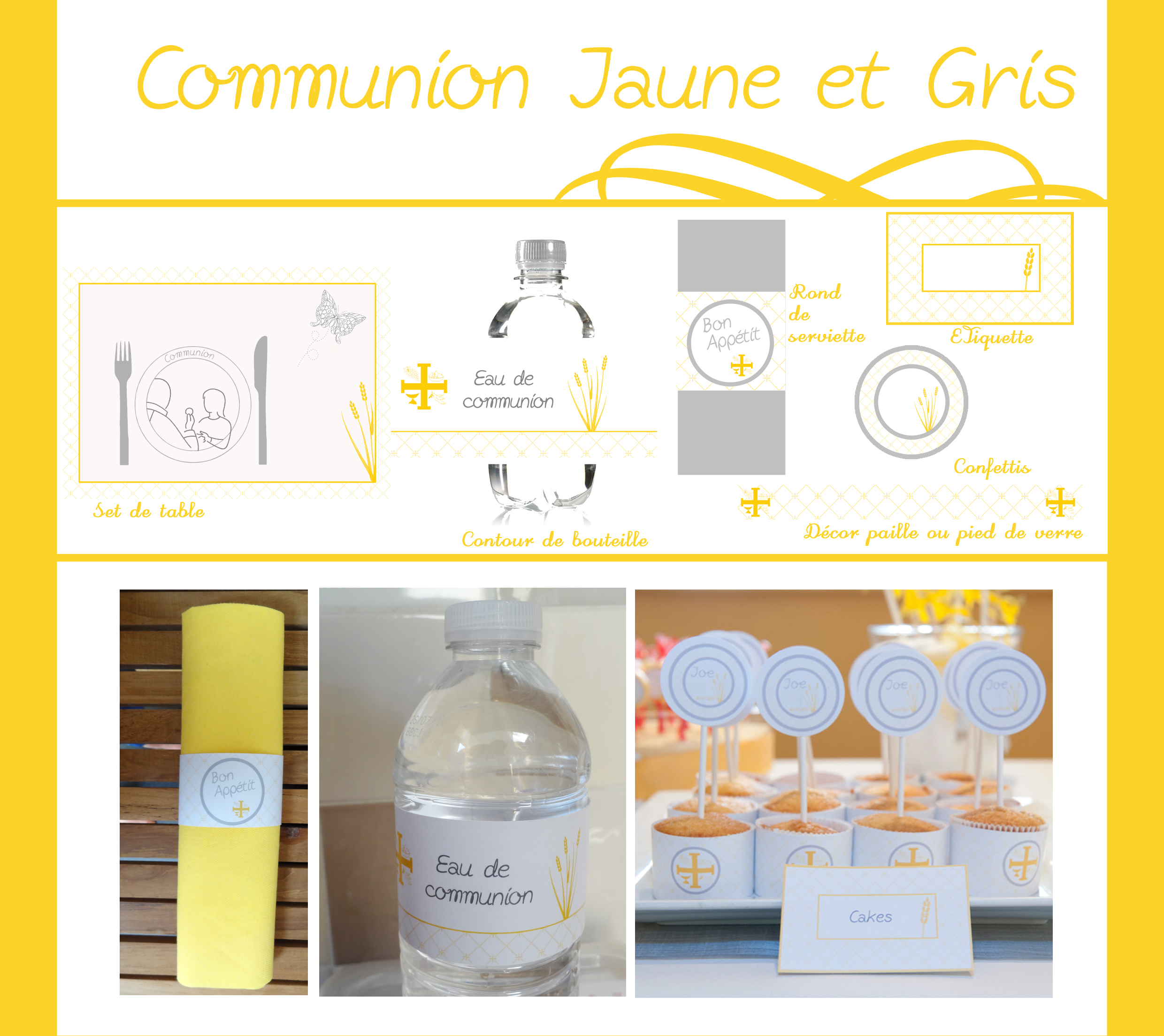 communion jaune et gris d coration de communion. Black Bedroom Furniture Sets. Home Design Ideas