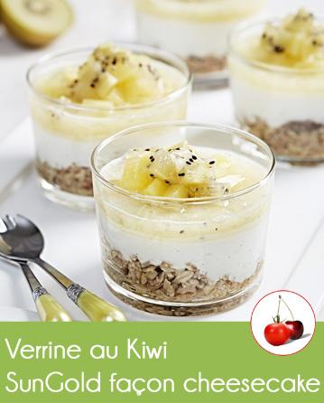 Verrine au Kiwi SunGold façon cheesecake