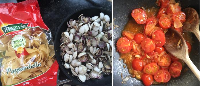 Pappardelle aux coques, tomates et artichauts