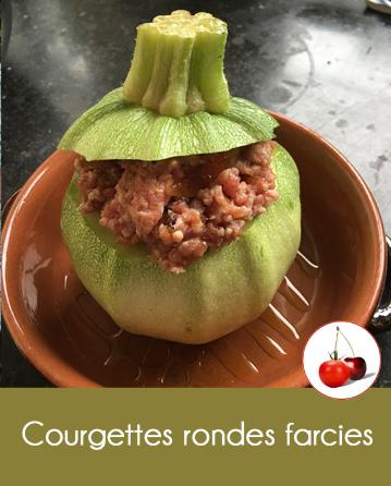 Courgettes rondes farcies au haché et confit d'oignons