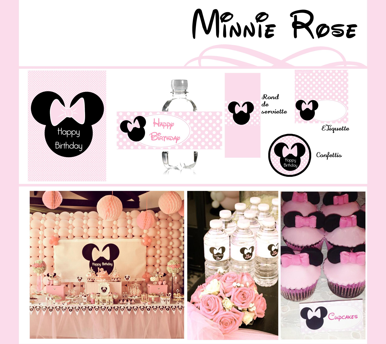 Décoration anniversaire imprimable Minnie Rose