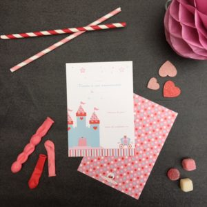 6 invitations anniversaire Princesse