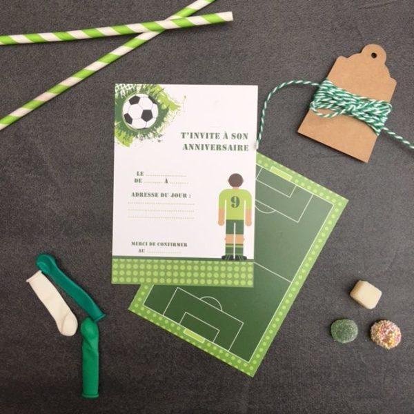 Invitation anniversaire Foot vert
