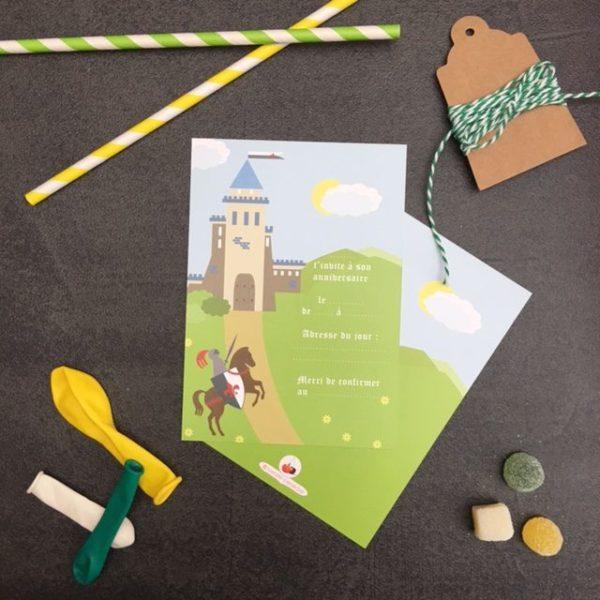6 cartons d'invitations ' Foot Vert '