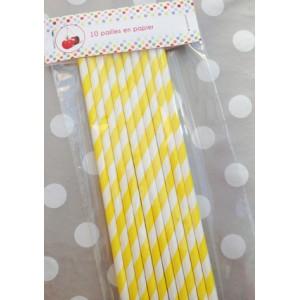10 pailles en papier rayé jaune et blanc