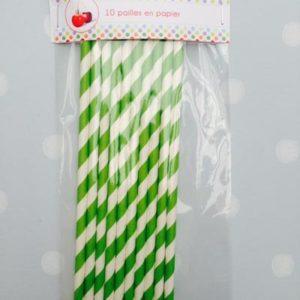 10 pailles en papier rayé vert et blanc