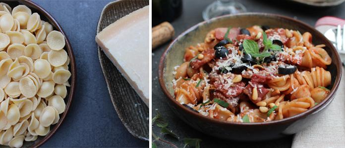 Pâtes orecchiette sauce tomate olives noires et pancetta