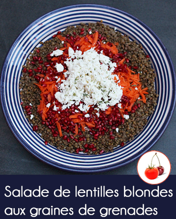 Salade de lentilles blondes aux graines de grenades