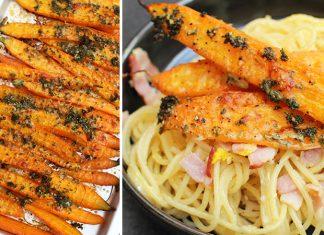 Carbonara aux carottes grillées et parmesan