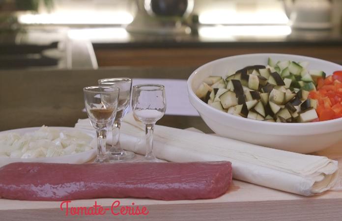 Samossa à l'agneau et aux légumes façon ratatouille