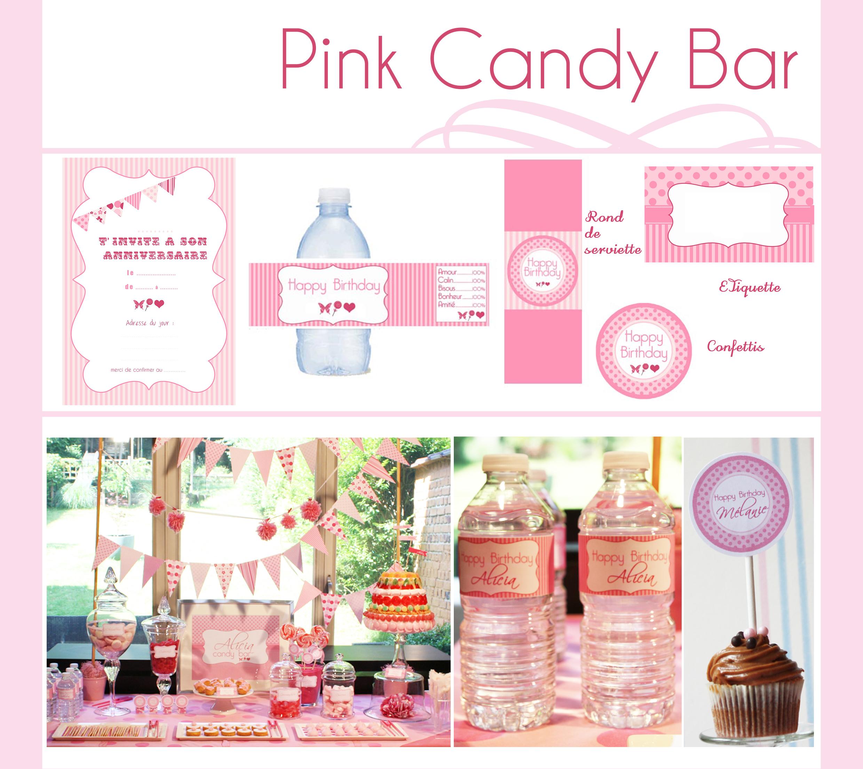 pink candy bar d coration d 39 anniversaire imprimable. Black Bedroom Furniture Sets. Home Design Ideas