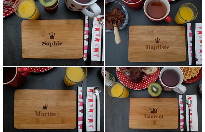 Une table de petit déjeuner personnalisée